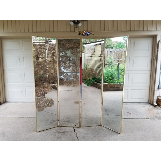 Vintage Gold Etched Mirror Room Divider For Sale - Image 4 of 10