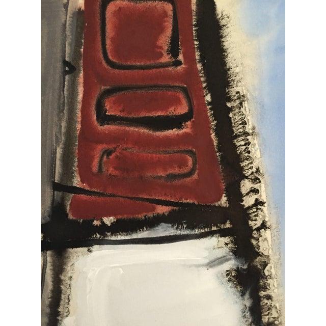 1940-1950's Mid Century Gouache Maroon Abstract - Image 2 of 4