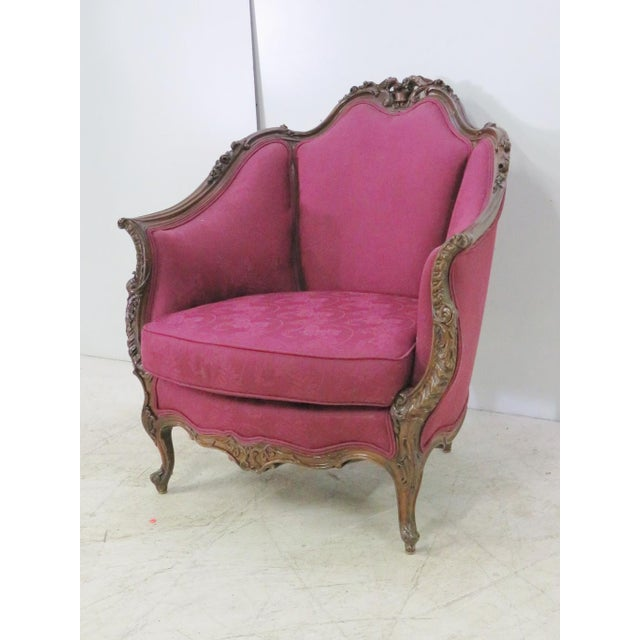 Burgundy French Walnut Carved Club Chair For Sale - Image 8 of 8