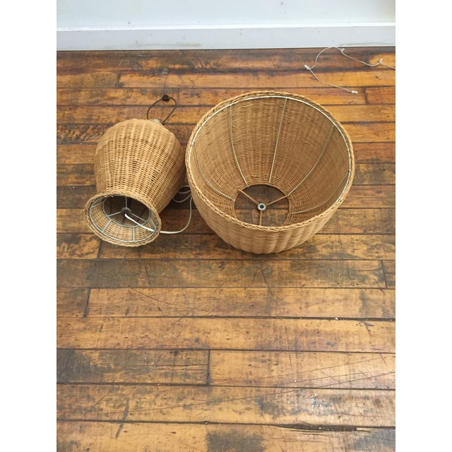 1960s Vintage Wicker Lamp and Shade For Sale - Image 4 of 8