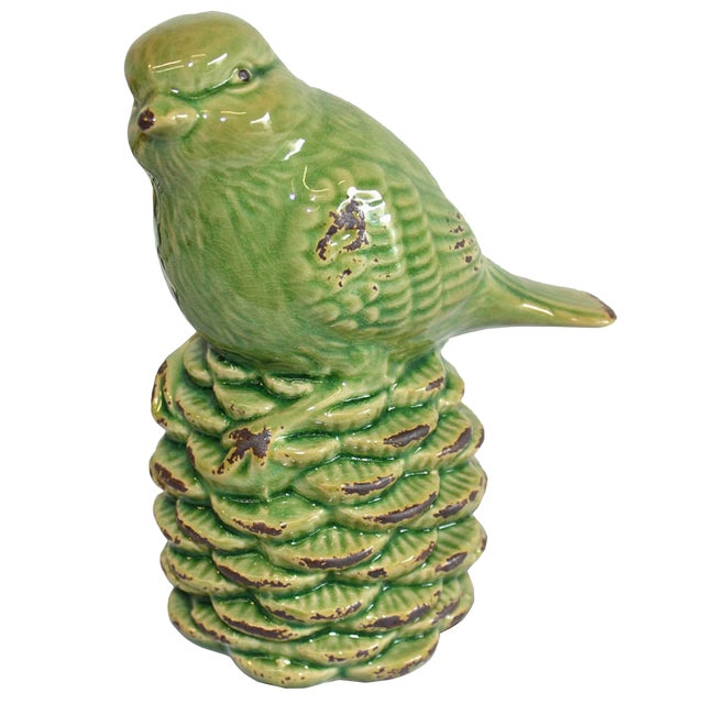 Green Bird on a Pine Cone Figurine - Image 1 of 4