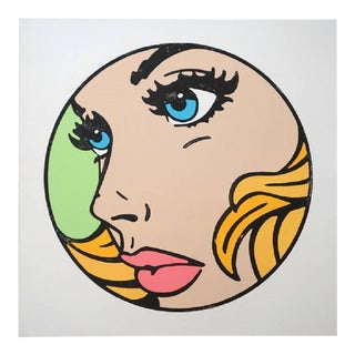 "Mitch McGee ""All That I Can"" Pop Art Limited Edition Woodcut Print in Green, Blue Eyes 2017 For Sale"