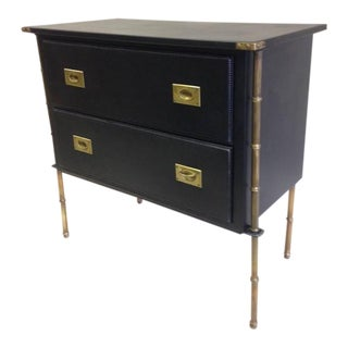 Rare Hand-Stitched Leather and Brass Faux Bamboo Commode by Jacques Adnet