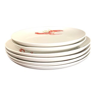 Crab and Fish Design Salad and Bread Plates by Lagnhethal Switzerland for Ayhew Ny- Set of 6 For Sale