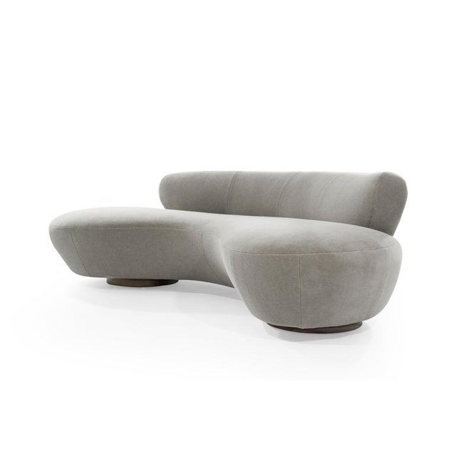 Mid-Century Modern Mohair Cloud Sofa on Walnut Bases by Vladimir Kagan for Directional For Sale - Image 3 of 13