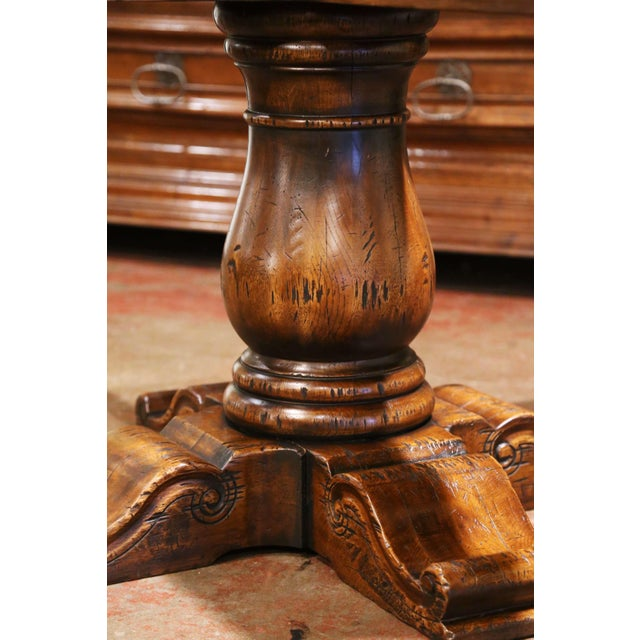 Chestnut Mid-Century French Carved Walnut Pedestal Round Dining Table With Parquetry Top For Sale - Image 8 of 13