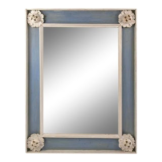 Neoclassical Style Blue and White Painted Mirror For Sale