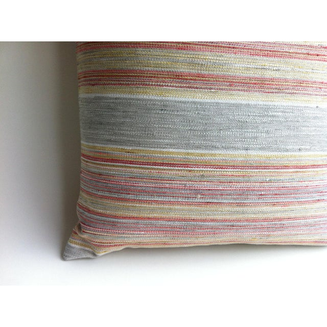 Coral & Grey Stripe Euro Sham Pillow Cover - Image 6 of 6