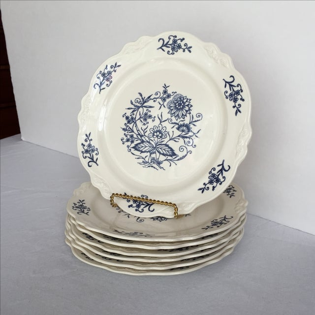 Traditional Blue Dresden Plates - Set of 7 For Sale - Image 3 of 10