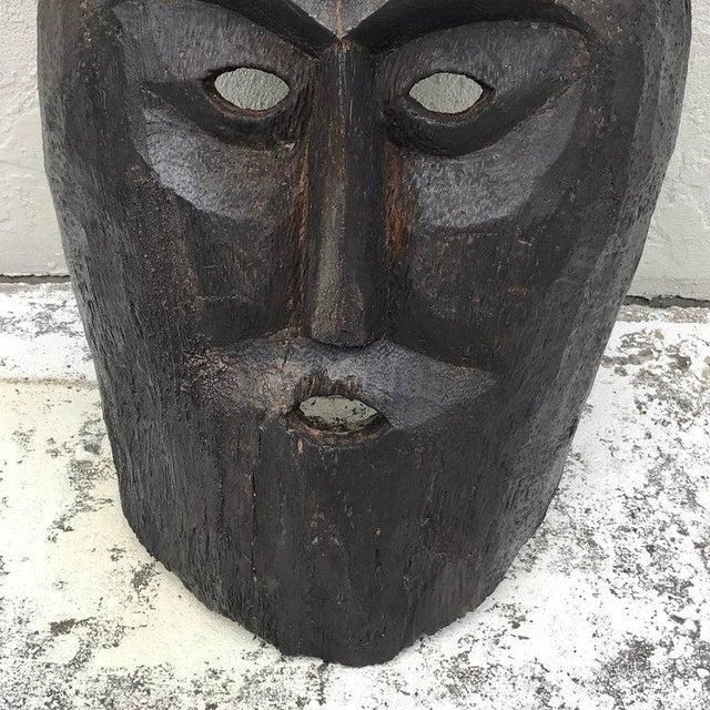 Huge Carved Mahogany Celtic Mask For Sale - Image 9 of 12