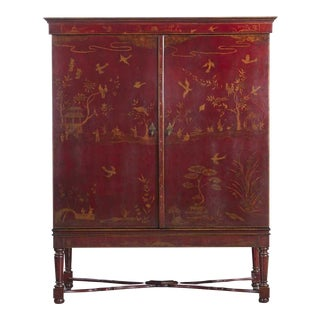 Rose Tarlow Armoire, Chinoiserie William & Mary Styled Cabinet With Red Floral Motif For Sale