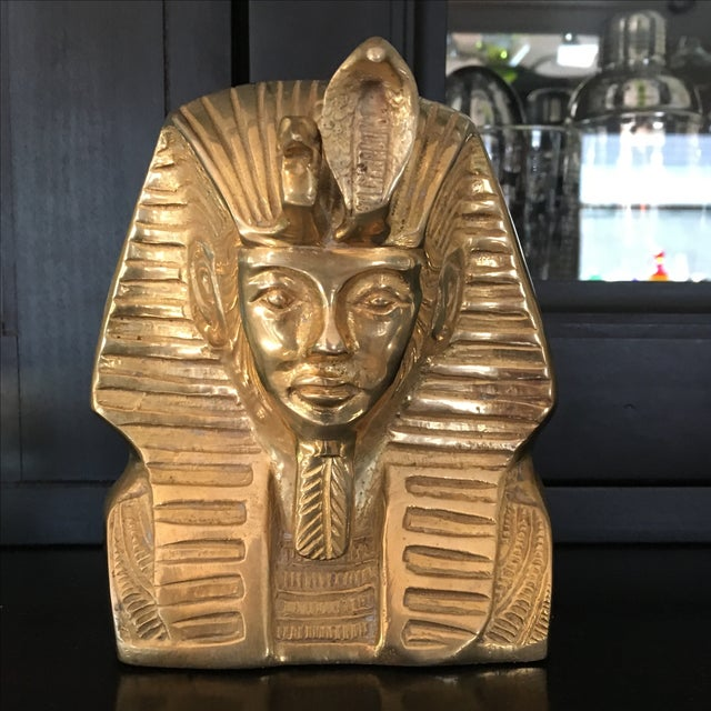 "Super rare vintage solid brass bust of Egyptian Pharoah King Tut! Really a beautiful piece - looks like gold. Measures 6""..."