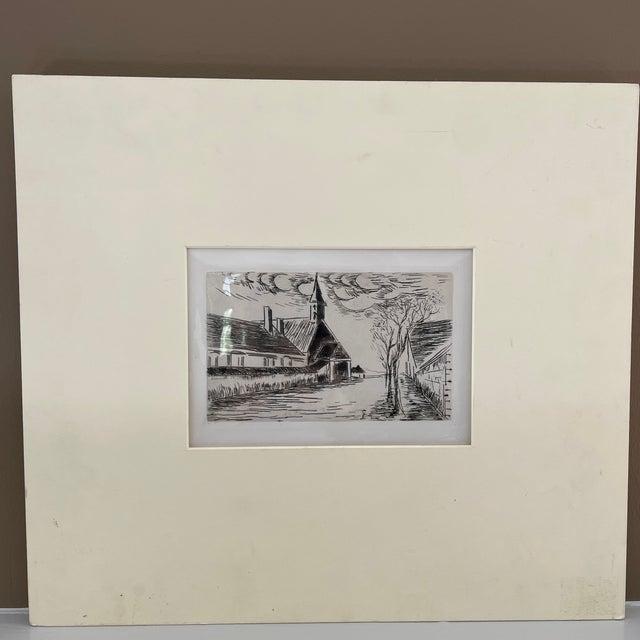 "Illustration 1927 ""L'Eglise"" Village Scene Drypoint Etching Attributed to Maurice De Vlaminck For Sale - Image 3 of 7"