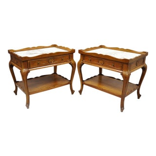 1950s French Provincial Louis XV Style Marble Top Shell Carved End Tables - a Pair For Sale