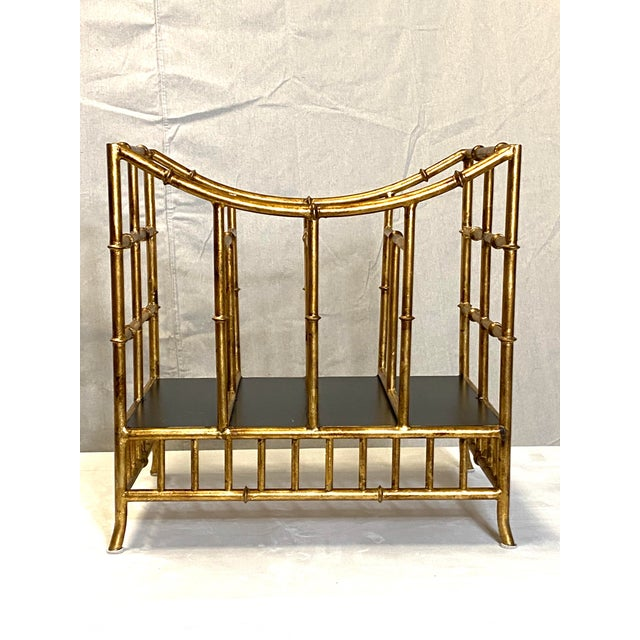 Beautiful Vintage Gilt Gold Canterbury Magazine Rack Stand Asian Style Fabulous For Sale - Image 4 of 8