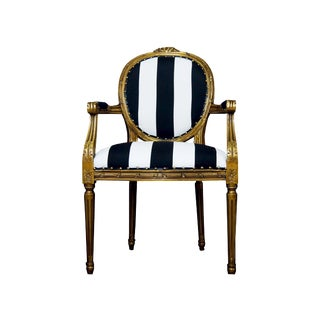 Louis XVI Gold, White and Black Stripe Chair For Sale