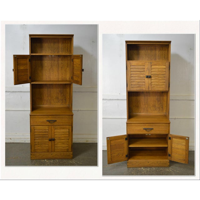 Brandt Ranch Oak Tall Narrow Bookcase Cabinet w/ Drawer & Doors For Sale - Image 10 of 12