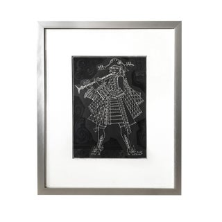 1960s Herschel Levit Minstrel Musician With Clarinet Lithographic Print For Sale