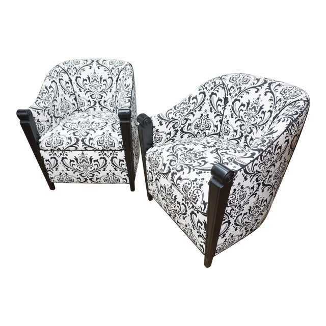 Black & White Art Deco Style Club Chairs - A Pair - Image 1 of 10
