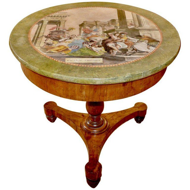 Fruitwood 19th Century Italian Neoclassical Scagliola Center Table For Sale - Image 7 of 7