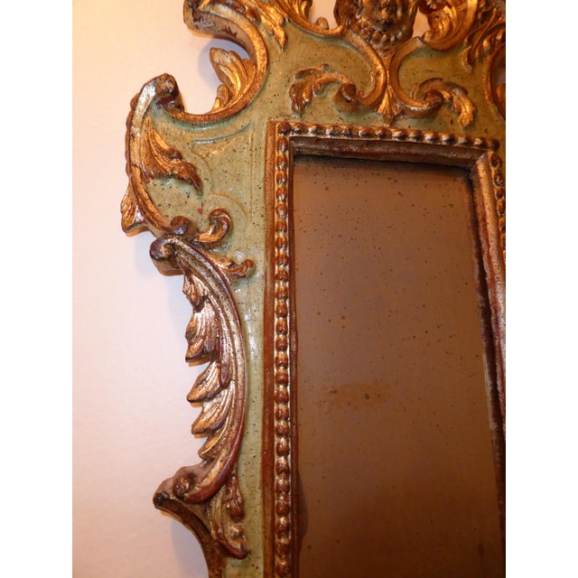 Glass Vintage Rococo Green & Gold Gilt Carved Wood Mirror For Sale - Image 7 of 11