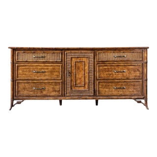 Stanley Faux Bamboo Cane Lowboy Dresser For Sale
