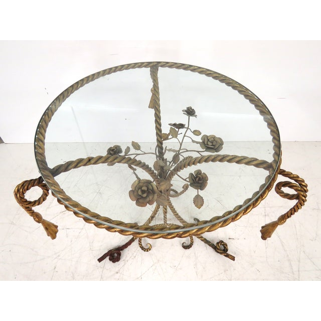 Italian Gilt Iron Rope & Tassel Center Table - Image 3 of 5