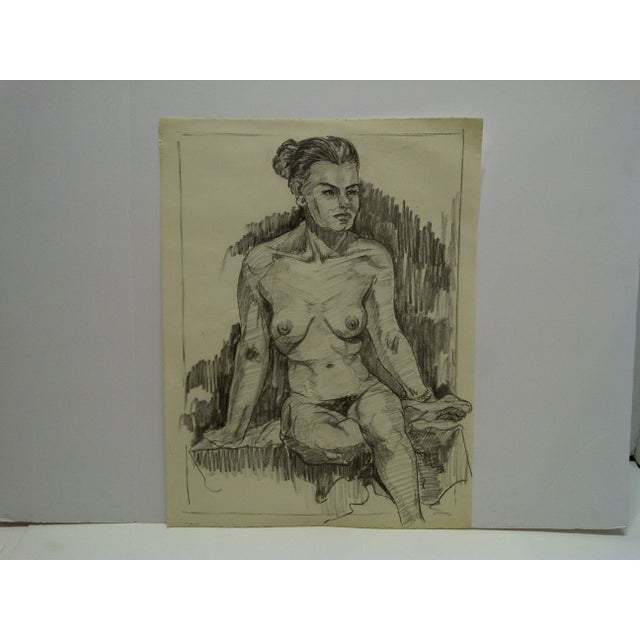 """Very Serious Nude II"" Original Drawing on Paper For Sale - Image 5 of 5"