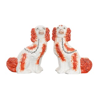 19th Century English Staffordshire King Charles Spaniels - a Pair For Sale