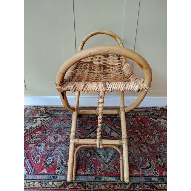 Wood Vintage Bamboo Bench Footstool For Sale - Image 7 of 11