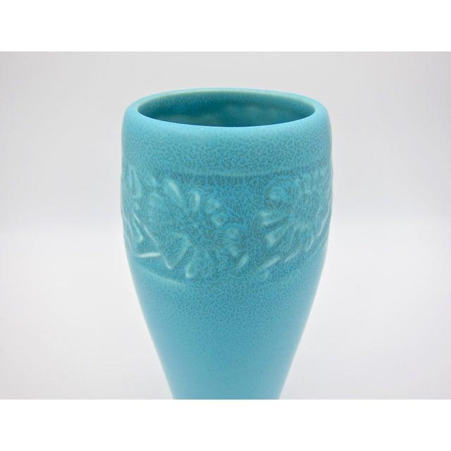 1930 Vintage Rookwood Pottery Arts & Crafts Blue Sunflower Vase For Sale In Los Angeles - Image 6 of 12