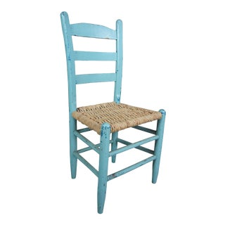 Vintage Shaker Ladder Back Turquoise Boho Chic Dining Side Chair With Jute Seat For Sale