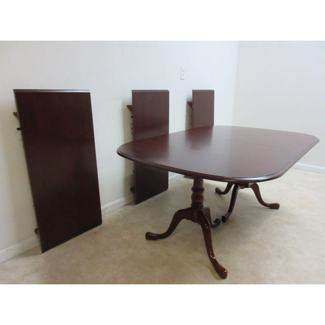 "A Pennsylvania House pedestal dining table. Measurements ( l x w x h) 66 x 44 x 29"". Each board is 20 inches wide . .Like..."