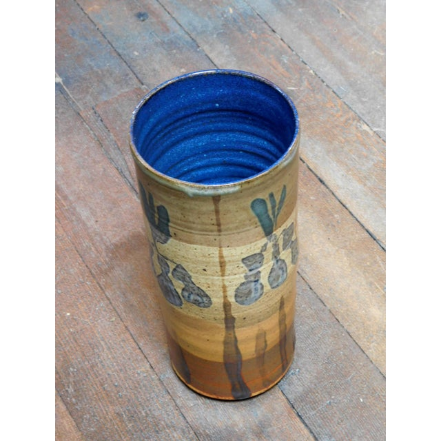 Brown 1960s William Creitz Pottery Artisan Vase For Sale - Image 8 of 8