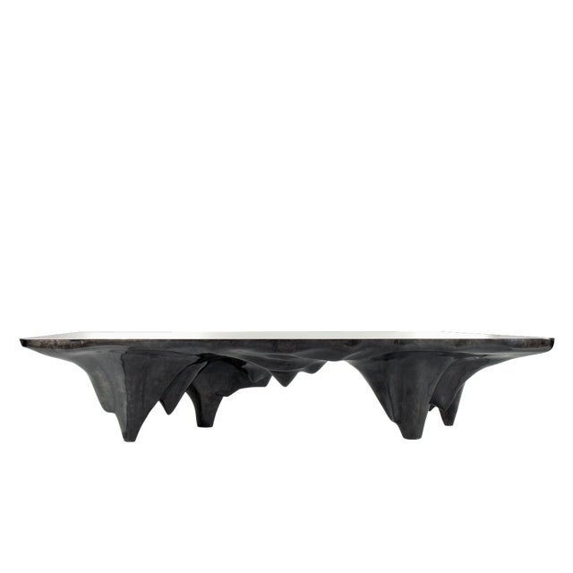 ARCTIC DINING TABLE, Charcoal Goatskin Parchment & Stainless Steel Top, by Sylvan SF Materials: Goatskin Parchment,...
