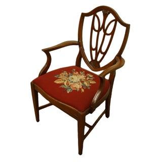 1960's Vintage Antique Mahogany Duncan Phyfe Shield Back Dining Arm Chair Preview