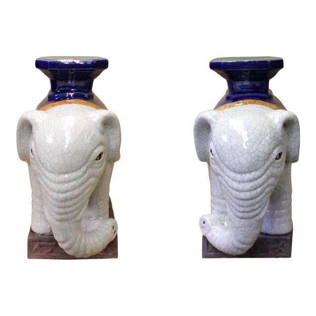 Pair Ceramic Chinese Off White Oriental Elephant Pedestal Figures For Sale