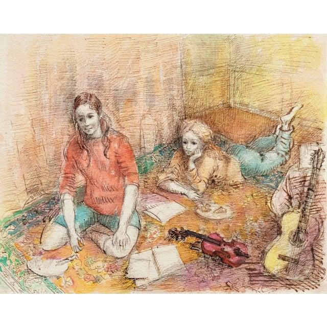 'Jeudi à La Maison' by Lucien Philippe Moretti, French Post-Impressionist, Ecole Des Beaux-Arts For Sale - Image 10 of 10