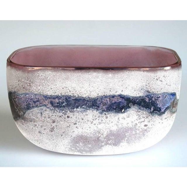A rare Murano 1960's Alfredo Barbini 'scavo' glass bowl; etched signature 'Barbini Murano' on underside; the oval-form...