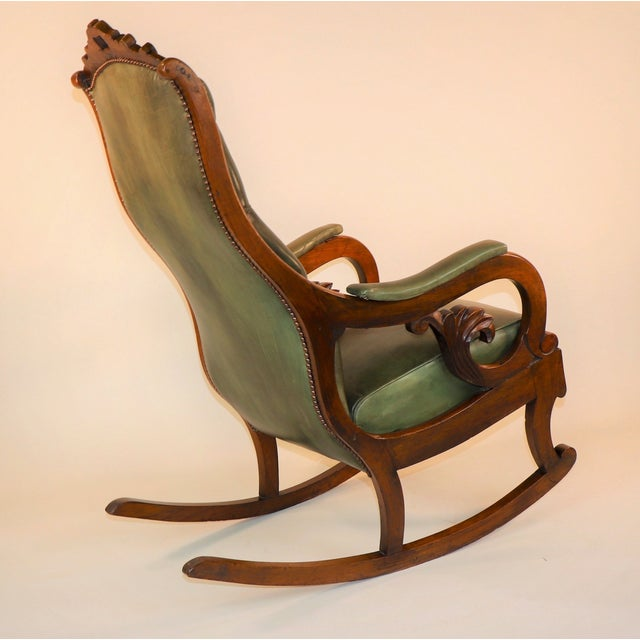 1830s English William IV Mahogany & Leather Rocking Chair For Sale - Image 4 of 13