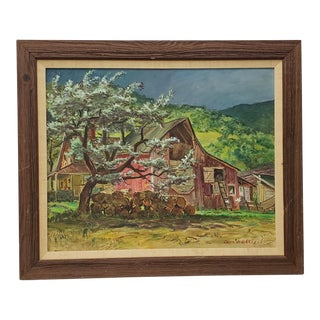 "Cecil Crosley Bell (1906-1970) ""Silver Maple Barn at Blanchards"" Original Oil Painting C.1950 For Sale"