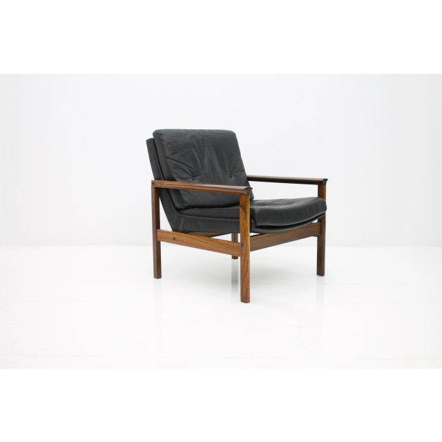 Scandinavian Easy Chair in Rosewood and Black Leather, 1960s For Sale - Image 6 of 6