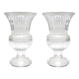 Monumental Neoclassical Gadrooned Glass Urns Vases-A Pair For Sale
