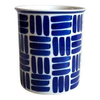 Dansk Herringbone Blue and White Ceramic Kitchen Utensil Holder or Vase For Sale