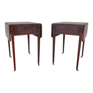 Federal Style Mahogany Banded 1 Drawer Pembroke End Tables - Pair
