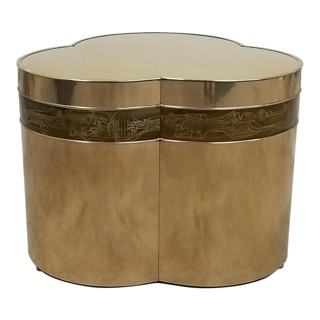 Bronze Trefoil Side or Coffee Table Base by Bernhard Rohne for Mastercraft For Sale