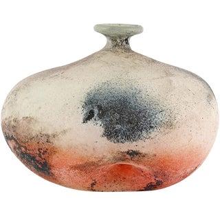Cenedese Murano Orange Black White Scavo Texture Italian Art Glass Flower Vase For Sale
