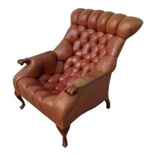 1970s Regency Carl Forslund Rip Van Lee Leather Arm Chair For Sale