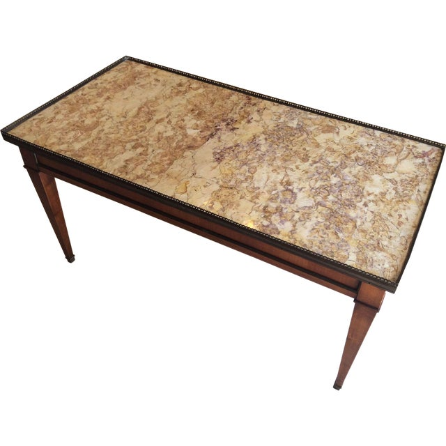 French Walnut Coffee Table With Marble Top For Sale - Image 11 of 11