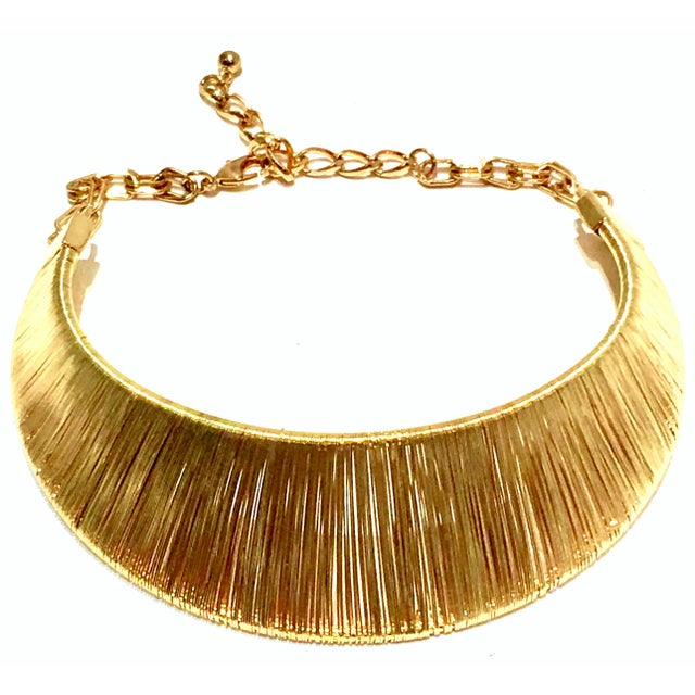 Modern 1980's Modernist Napier Style Gold Plate Wire Collar Choker Necklace For Sale - Image 3 of 10